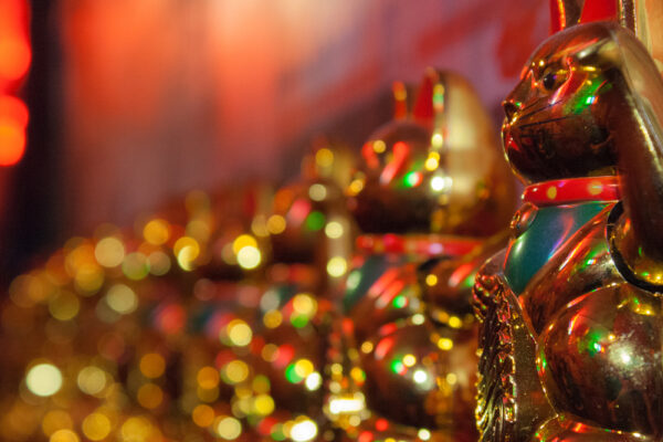 """Maneki-neko literally meaning """"beckoning cat"""", is a common Japanese figurine (lucky charm, talisman) which is often believed to bring good luck to the owner."""