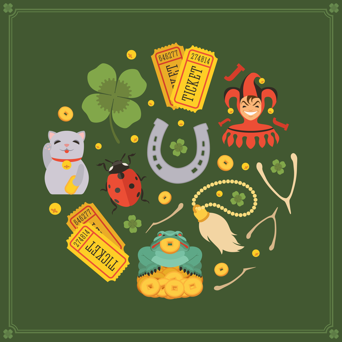 Round vector decorating design made of Lucky Charms. Colorful card template